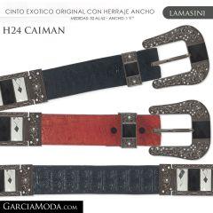 CINTO PIEL EXOTICA LAMASINI WESTERN H24 CAIMAN Cognac, Negro