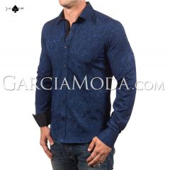 MEN'S FASHION SHIRT BY JOHNNY MATT - NAVY PATTERN