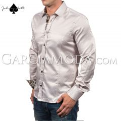 Johnny Matt Luxury shirts JM-1080 Beige with a  dotted design and floral inner details