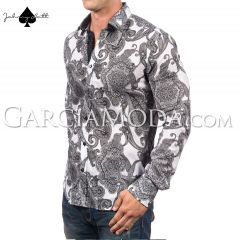 Johnny Matt Luxury shirts JM-1095 Black with a modern paisley design and dotted inner details