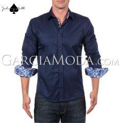 Johnny Matt Luxury shirts JM-1213 Navy with contrasting inner details
