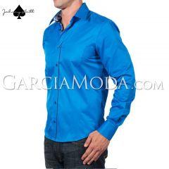 Johnny Matt Luxury shirts JM-1213 Royal Blue with contrasting inner details