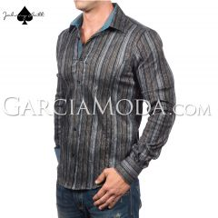 Johnny Matt Luxury shirts JM-1051 Blue with a stripe overlay floral outlines pattern contrast inner details