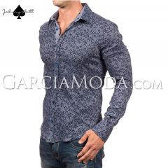 Johnny Matt Luxury shirts JM-1052 Blue with a leaf shadow pattern and pola dot contrast inner details