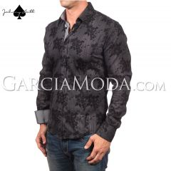 Johnny Matt Luxury shirts JM-1053 Black with a brushed grape shadow pattern and grey inner details