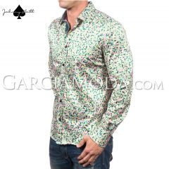 Johnny Matt Luxury shirts JM-1057 Green with a multi color pixel pattern and contrast inner details