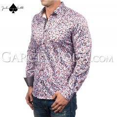 Johnny Matt Luxury shirts JM-1057 Red with a multi color pixel pattern and contrast inner details