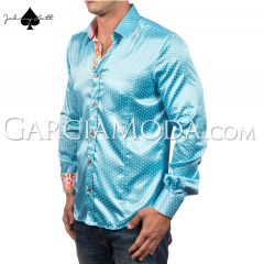 Johnny Matt Luxury shirts JM-1059 Turquoise with a polka dot pattern and colorful floral inner details