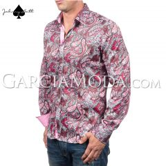 Johnny Matt Luxury shirts JM-1063 Pink with a modern floral paisley design and contrast inner details