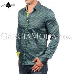 Johnny Matt Luxury shirts JM-1064 Green with a modern pattern design and contrast inner details