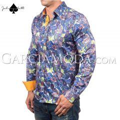 Johnny Matt Luxury shirts JM-1066 Royal  paisley design and contrast inner details