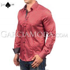 Johnny Matt Luxury shirts JM-1067 red with a modern dotted design
