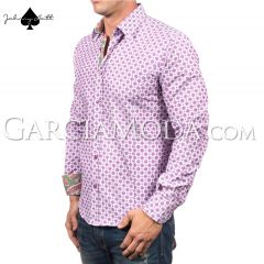 Johnny Matt Luxury Menswear JM-1005 Pink with dot style pattern and floral inner details