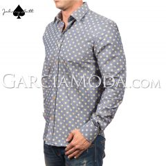 Johnny Matt Luxury Menswear JM-1008  with yellow dot style pattern and colorful inner details