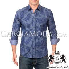 Camisa Michael & David Luxury Menswear MD-579 Navy Paisley
