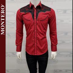 Camisa Vaquera Montero Western 3517 Burgundy