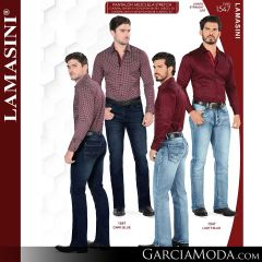 Pantalon Vaquero Lamsaini Western 1547-Dark-Blue-Light-Blue