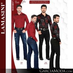 Pantalon Vaquero Lamsaini Western 1548-Azul-Negro