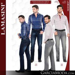 Pantalon Vaquero Lamsaini Western 1551-Navy-Gris