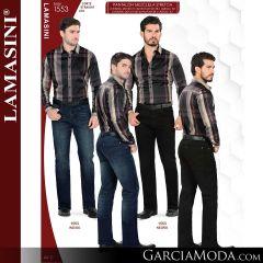 Pantalon Vaquero Lamsaini Western 1553-Indigo-Negro