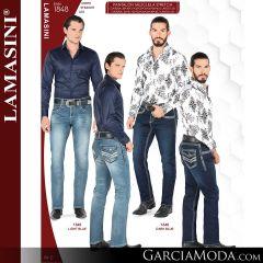Pantalon Vaquero Lamsaini Western 1848-Light-Blue-Dark-Blue