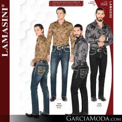 Pantalon Vaquero Lamsaini Western 1848-Medium-Blue-Black