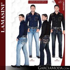Pantalon Vaquero Lamsaini Western 1851-Dark-Blue-Light-Blue